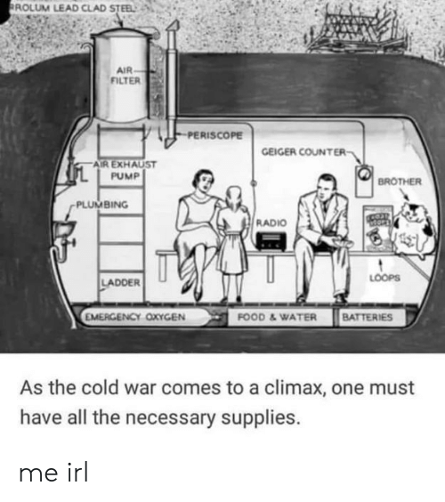 Food, Radio, and Oxygen: ROLUM LEAD CLAD STEEL  AIR  FILTER  PERISCOPE  GEIGER COUNTER  AIR EXHAUST  PUMP  BROTHER  PLUMBING  RADIO  LOOPS  LADDER  EMERGENCY OXYGEN  FOOD &WATER BATTERIES  As the cold war comes to a climax, one must  have all the necessary supplies. me irl
