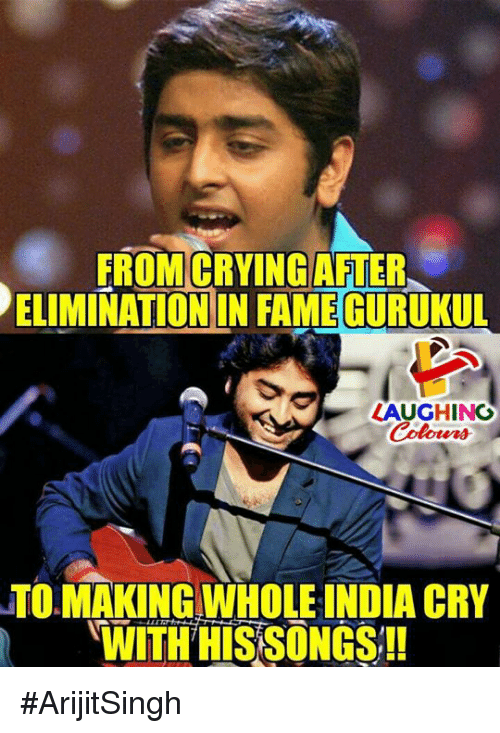 Crying, India, and Songs: ROM CRYING AFTER  ELIMINATION IN FAMEGURUKUL  K  LAUGHING  TO MAKING WHOLE INDIA CRY  WITH HIS SONGS!! #ArijitSingh