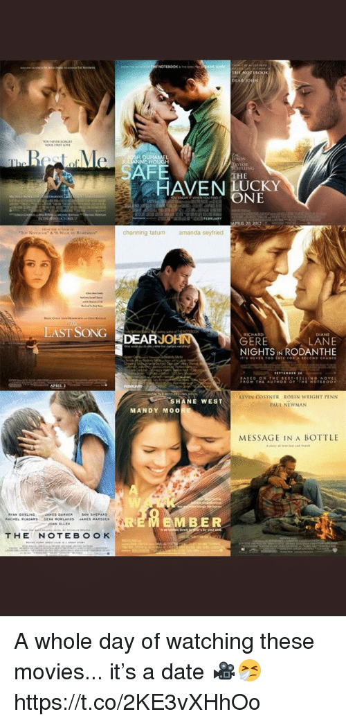 Newman: RON  HOUGH  SAFE  THE  HAVEN UCKY  ONE  PRIL 20 2012  channing tatum  amanda seyfried  LAST SONGDEARJ  RICHARD  DIANE  LANE  NIGHTS IN RODANTHE  ERE  APRIL  KEVIN COSTNER ROBIN WRIGHT PENN  PAUL NEWMAN  SHANE WEST  MANDY MO0  MESSAGE IN A BOTTLE  EMBER A whole day of watching these movies... it's a date 🎥🤧 https://t.co/2KE3vXHhOo