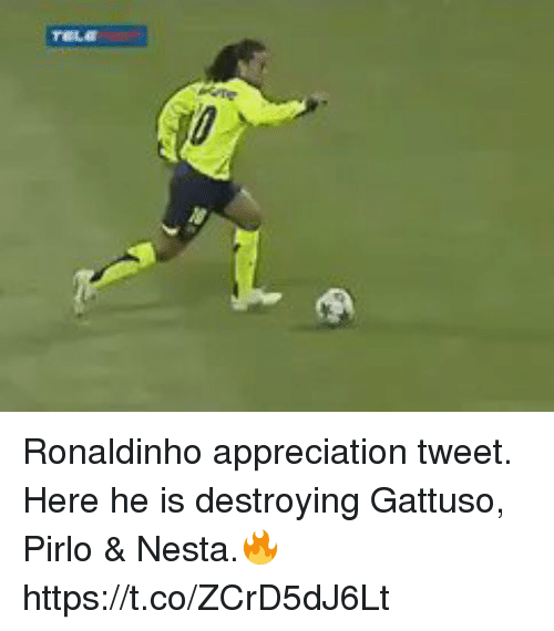 Soccer, Ronaldinho, and Pirlo: Ronaldinho appreciation tweet. Here he is destroying Gattuso, Pirlo & Nesta.🔥 https://t.co/ZCrD5dJ6Lt