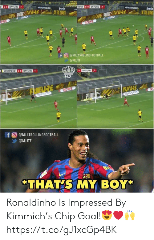 Goal: Ronaldinho Is Impressed By Kimmich's Chip Goal!😍❤️🙌 https://t.co/gJ1xcGp4BK