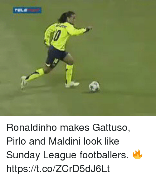Soccer, Ronaldinho, and Sunday: Ronaldinho makes Gattuso, Pirlo and Maldini look like Sunday League footballers. 🔥 https://t.co/ZCrD5dJ6Lt