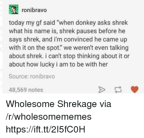 """Donkey, Shrek, and Today: ronibravo  today my gf said """"when donkey asks shrek  what his name is, shrek pauses before he  says shrek, and i'm convinced he came up  with it on the spot."""" we weren't even talking  about shrek. i can't stop thinking about it or  about how lucky i am to be with her  Source: ronibravo  48,569 notes Wholesome Shrekage via /r/wholesomememes https://ift.tt/2I5fC0H"""