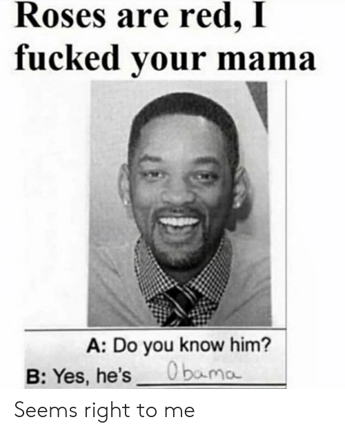 Dank Memes, Yes, and Red: Roses are red, I  fucked your mama  A: Do you know him?  O bama  B:Yes, he's Seems right to me