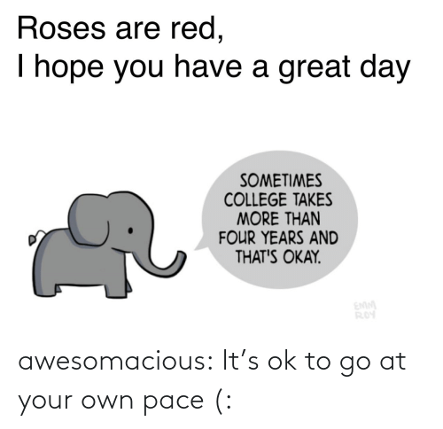 roses: Roses are red,  I hope you have a great day  SOMETIMES  COLLEGE TAKES  MORE THAN  FOUR YEARS AND  THAT'S OKAY.  EMM  ROY awesomacious:  It's ok to go at your own pace (: