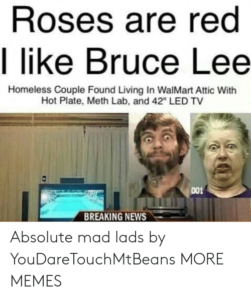 "Dank, Homeless, and Memes: Roses are red  I like Bruce Lee  Homeless Couple Found Living In WalMart Attic With  Hot Plate, Meth Lab, and 42"" LED TV  001  BREAKING NEWS Absolute mad lads by YouDareTouchMtBeans MORE MEMES"