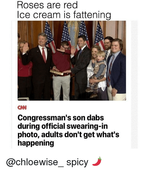 Spicie: Roses are red  Ice cream is fattening  CNN  Congressman's son dabs  during official swearing-in  photo, adults don't get what's  happening @chloewise_ spicy 🌶