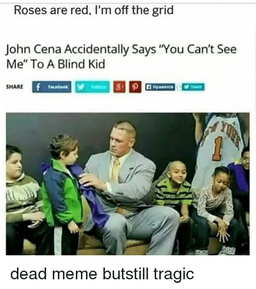 "Im Off: Roses are red, I'm off the grid  John Cena Accidentally Says You Can't See  Me"" To A Blind Kic  SHARE dead meme butstill tragic"