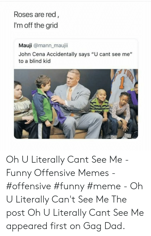 "funny meme: Roses are red,  I'm off the grid  Mauji @mann_maujii  John Cena Accidentally says ""U cant see me""  to a blind kid Oh U Literally Cant See Me - Funny Offensive Memes - #offensive #funny #meme - Oh U Literally Can't See Me The post Oh U Literally Cant See Me appeared first on Gag Dad."