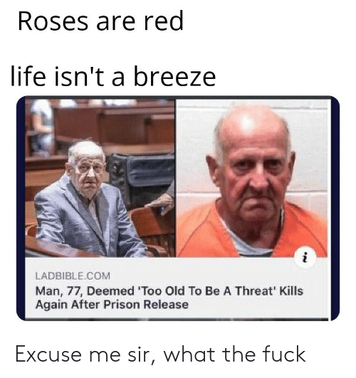 Threat: Roses are red  life isn't a breeze  LADBIBLE.COM  Man, 77, Deemed 'Too Old To Be A Threat' Kills  Again After Prison Release Excuse me sir, what the fuck