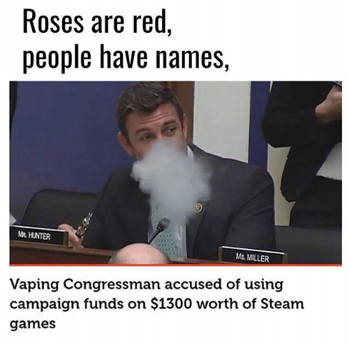 Memes, Steam, and Games: Roses are red,  people have names  MR HUNTER  Ms MILLER  Vaping Congressman accused of using  campaign funds on $1300 worth of Steam  games