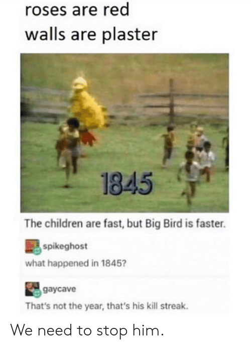 Big Bird: roses are red  walls are plaster  1845  The children are fast, but Big Bird is faster.  spikeghost  what happened in 1845  gaycave  That's not the year, that's his kill streak. We need to stop him.