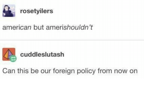 American, Policy, and Can: rosetyilers  american but amerishouldn't  cuddleslutash  Can this be our foreign policy from now on