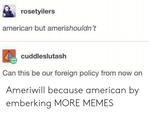 Dank, Memes, and Target: rosetyilers  american but amerishouldn't  cuddleslutash  Can this be our foreign policy from now on Ameriwill because american by emberking MORE MEMES