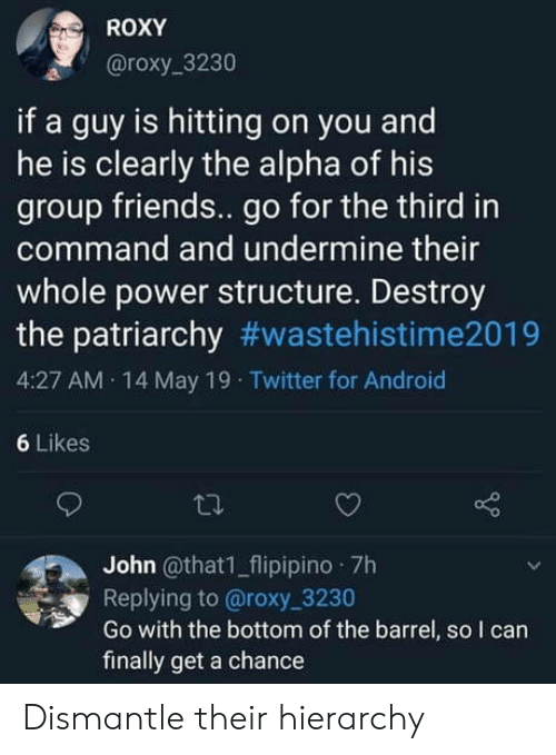 Android, Friends, and Twitter: ROXY  @roxy_3230  if a guy is hitting on you and  he is clearly the alpha of his  group friends.. go for the third in  command and undermine their  whole power structure. Destroy  the patriarchy #wastehistime2019  4:27 AM 14 May 19 Twitter for Android  6 Likes  John @that1_flipipino 7h  Replying to @roxy 3230  Go with the bottom of the barrel, so I can  finally get a chance Dismantle their hierarchy