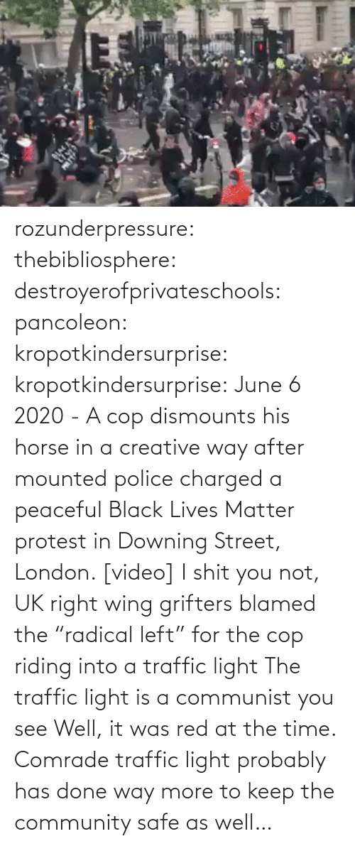 "see: rozunderpressure:  thebibliosphere: destroyerofprivateschools:  pancoleon:   kropotkindersurprise:  kropotkindersurprise: June 6 2020 - A cop dismounts his horse in a creative way after mounted police charged a peaceful Black Lives Matter protest in Downing Street, London. [video]    I shit you not, UK right wing grifters blamed the ""radical left"" for the cop riding into a traffic light    The traffic light is a communist you see    Well, it was red at the time.  Comrade traffic light probably has done way more to keep the community safe as well…"