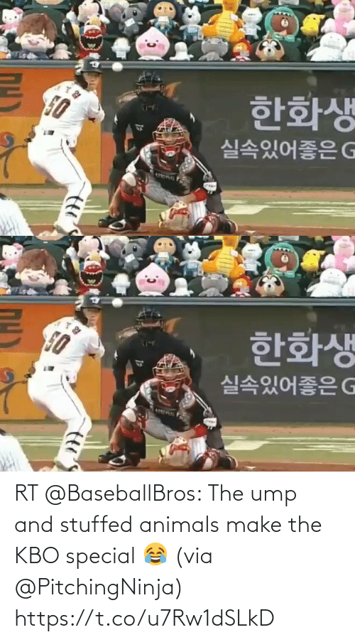 Animals: RT @BaseballBros: The ump and stuffed animals make the KBO special 😂 (via @PitchingNinja)  https://t.co/u7Rw1dSLkD