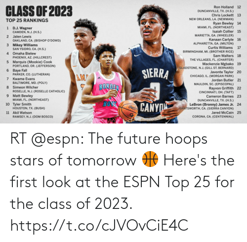 The First: RT @espn: The future hoops stars of tomorrow 🏀  Here's the first look at the ESPN Top 25 for the class of 2023. https://t.co/cJVOvCiE4C