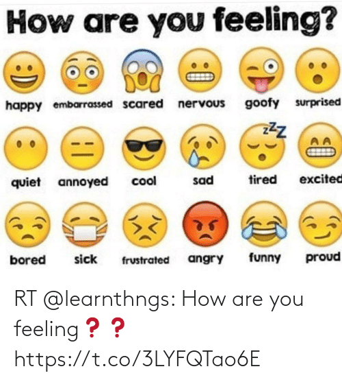 are you: RT @learnthngs: How are you feeling❓❓ https://t.co/3LYFQTao6E