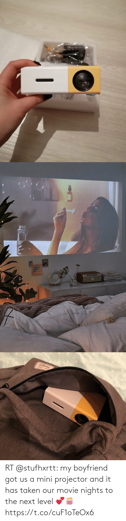 Movie: RT @stufhxrtt: my boyfriend got us a mini projector and it has taken our movie nights to the next level 💕🍿 https://t.co/cuF1oTeOx6