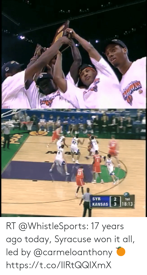 17 years: RT @WhistleSports: 17 years ago today, Syracuse won it all, led by @carmeloanthony 🍊 https://t.co/IlRtQQIXmX