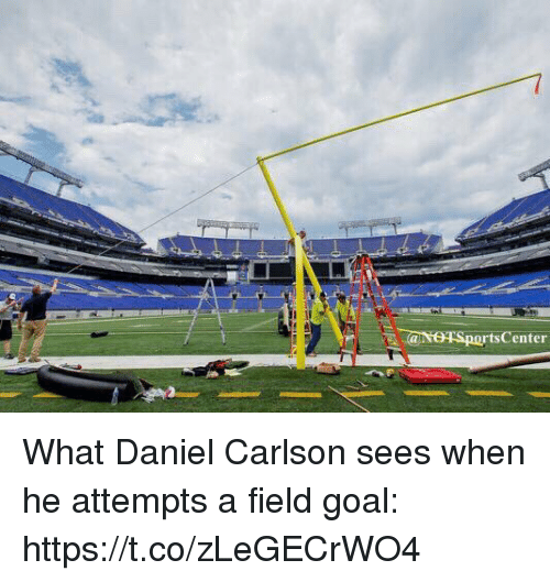 Sports, Goal, and Daniel: rtsCenter What Daniel Carlson sees when he attempts a field goal: https://t.co/zLeGECrWO4