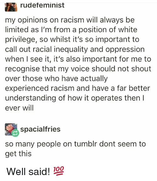 Memes, Racism, and Tumblr: rudefeminist  my opinions on racism will always be  limited as I'm from a position of white  privilege, so whilst it's so important to  call out racial inequality and oppression  when I see it, it's also important for me to  recognise that my voice should not shout  over those who have actually  experienced racism and have a far better  understanding of how it operates then I  ever will  spacialfries  so many people on tumblr dont seem to  get this Well said! 💯
