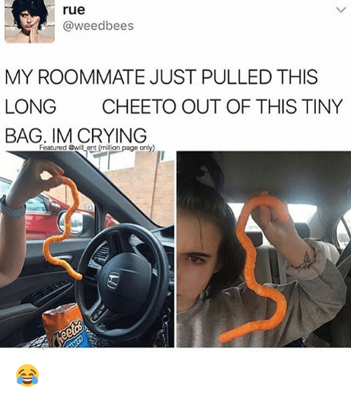 Crying, Memes, and Roommate: rue  @weedbees  MY ROOMMATE JUST PULLED THIS  LONG  CHEETO OUT OF THIS TINY  BAG. IM CRYING  Featured @will ent (million page only) 😂