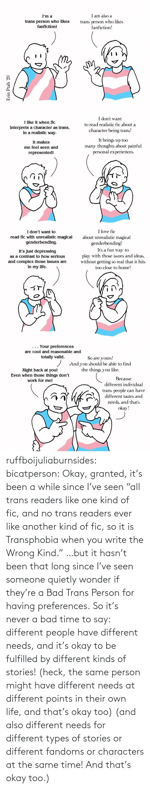 "Okay: ruffboijuliaburnsides: bicatperson:   Okay, granted, it's been a while since I've seen ""all trans readers  like one kind of fic, and no trans readers ever like another kind of  fic, so it is Transphobia when you write the Wrong Kind."" …but it hasn't been that long since I've seen someone quietly wonder if they're a Bad Trans Person for having preferences. So  it's never a bad time to say: different people have different needs,  and it's okay to be fulfilled by different kinds of stories! (heck, the same person might have different needs at different points in their own life, and that's okay too)    (and also different needs for different types of stories or different fandoms or characters at the same time!  And that's okay too.)"