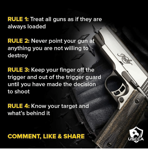 Guns, Memes, and Target: RULE 1: Treat all guns as if they are  always loaded  RULE 2: Never point your gun at  anything you are not willing to  destroy  RULE 3: Keep your finger off the  trigger and out of the trigger guard  until you have made the decision  to shoot  RULE 4: Know your target and  what's behind it  COMMENT, LIKE & SHARE  USCCA