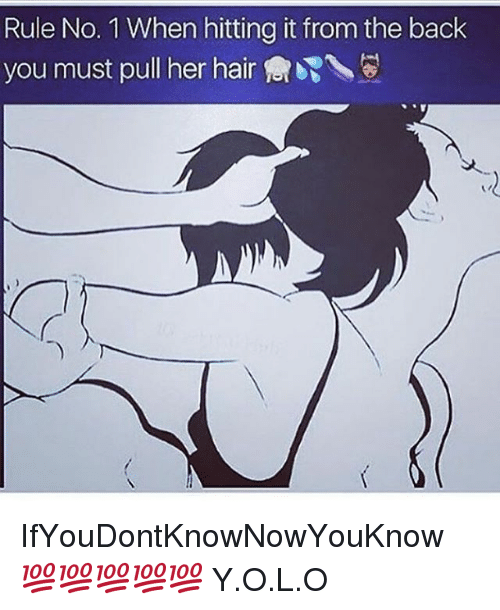 Memes, Hair, and Back: Rule No. 1 When hitting it from the back  you must pull her hair IfYouDontKnowNowYouKnow 💯💯💯💯💯 Y.O.L.O