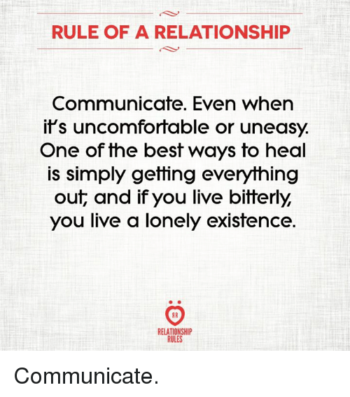 Best, Live, and One: RULE OF A RELATIONSHIP  Communicate. Even when  it's uncomfortable or uneasy.  One of the best ways to heal  is simply getting everything  out, and if you live bitterly,  you live a lonely existence.  8 R  RELATIONSHI  RULES Communicate.