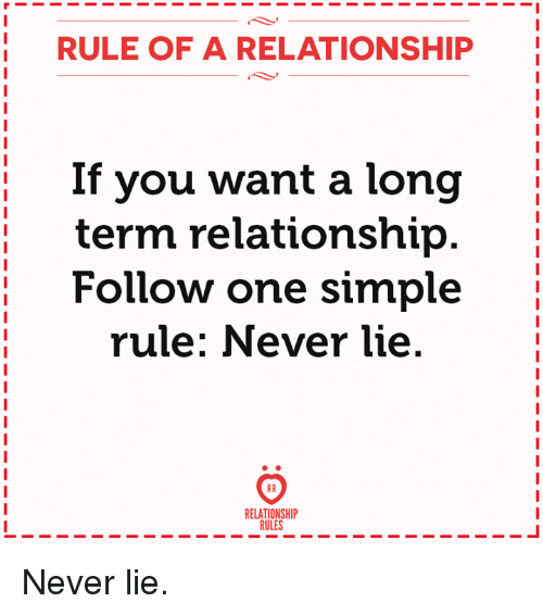 Never, Simple, and One: RULE OF A RELATIONSHIP  If you want a long  term relationship  Follow one simple  rule: Never lie  RR  RELATIONSHIP  RULES Never lie.