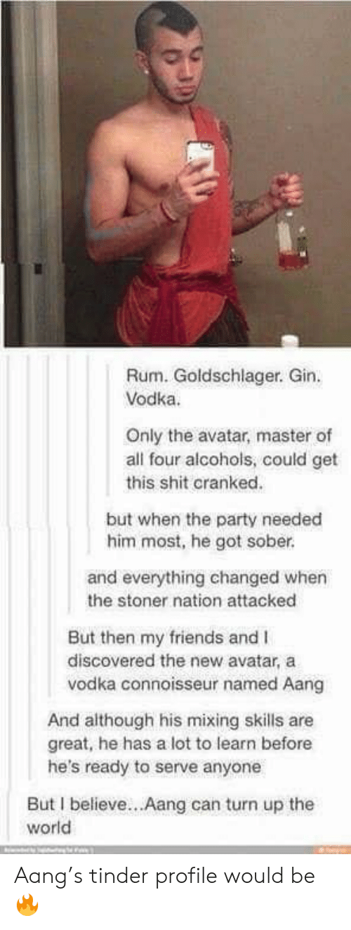 Aang: Rum. Goldschlager. Gin  Vodka.  Only the avatar, master of  all four alcohols, could get  this shit cranked.  but when the party needed  him most, he got sober.  and everything changed when  the stoner nation attacked  But then my friends and I  discovered the new avatar, a  vodka connoisseur named Aang  And although his mixing skills are  great, he has a lot to learn before  he's ready to serve anyone  But I believe...Aang can turn up the  world Aang's tinder profile would be 🔥