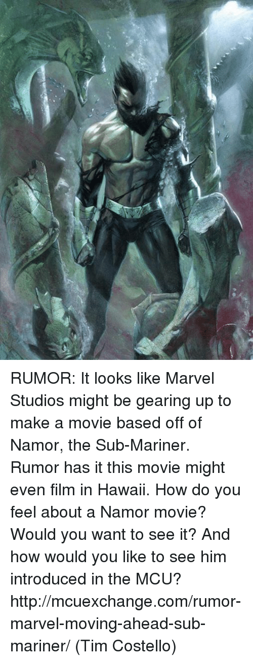 Memes, 🤖, and Mcu: RUMOR: It looks like Marvel Studios might be gearing up to make a movie based off of Namor, the Sub-Mariner. Rumor has it this movie might even film in Hawaii.   How do you feel about a Namor movie? Would you want to see it? And how would you like to see him introduced in the MCU?  http://mcuexchange.com/rumor-marvel-moving-ahead-sub-mariner/  (Tim Costello)