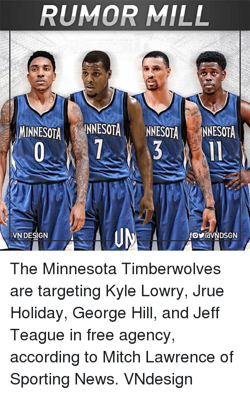 Kyle Lowry, Memes, and News: RUMOR MILL  MINNESOTA  NNESOTANNESOTA NNESOTA  VN DESIGN The Minnesota Timberwolves are targeting Kyle Lowry, Jrue Holiday, George Hill, and Jeff Teague in free agency, according to Mitch Lawrence of Sporting News. VNdesign