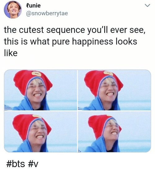 bts v: Runie  @snowberrytae  the cutest sequence you'll ever see,  this is what pure happiness looks  like #bts #v