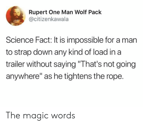 "Magic, Science, and Wolf: Rupert One Man Wolf Pack  @citizenkawala  Science Fact: It is impossible for a man  to strap down any kind of load in a  trailer without saying ""That's not going  anywhere"" as he tightens the rope. The magic words"