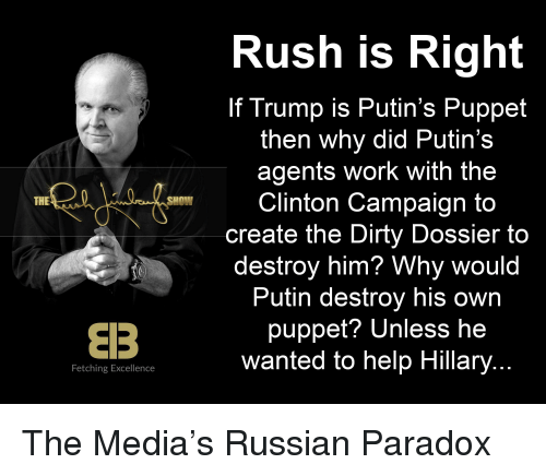 Work, Dirty, and Help: Rush is Right  If Trump is Putin's Puppet  then why did Putin's  agents work with the  Clinton Campaign to  create the Dirty Dossier to  destroy him? Why would  Putin destroy his own  puppet? Unless he  wanted to help Hillary  THE  SHOW  Fetching Excellence