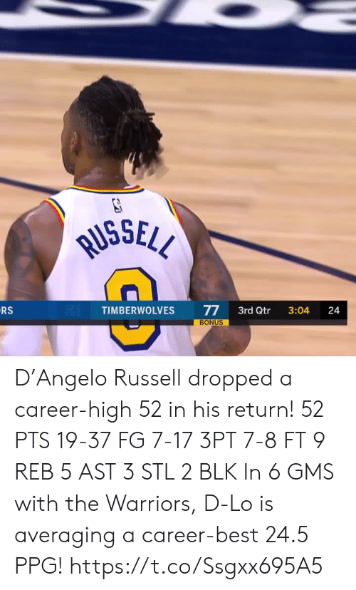 Memes, Best, and Warriors: RUSSELL  RS  77  BONUS  TIMBERWOLVES  3rd Qtr  3:04  24 D'Angelo Russell dropped a career-high 52 in his return!   52 PTS 19-37 FG 7-17 3PT 7-8 FT 9 REB 5 AST 3 STL 2 BLK   In 6 GMS with the Warriors, D-Lo is averaging a career-best 24.5 PPG!    https://t.co/Ssgxx695A5