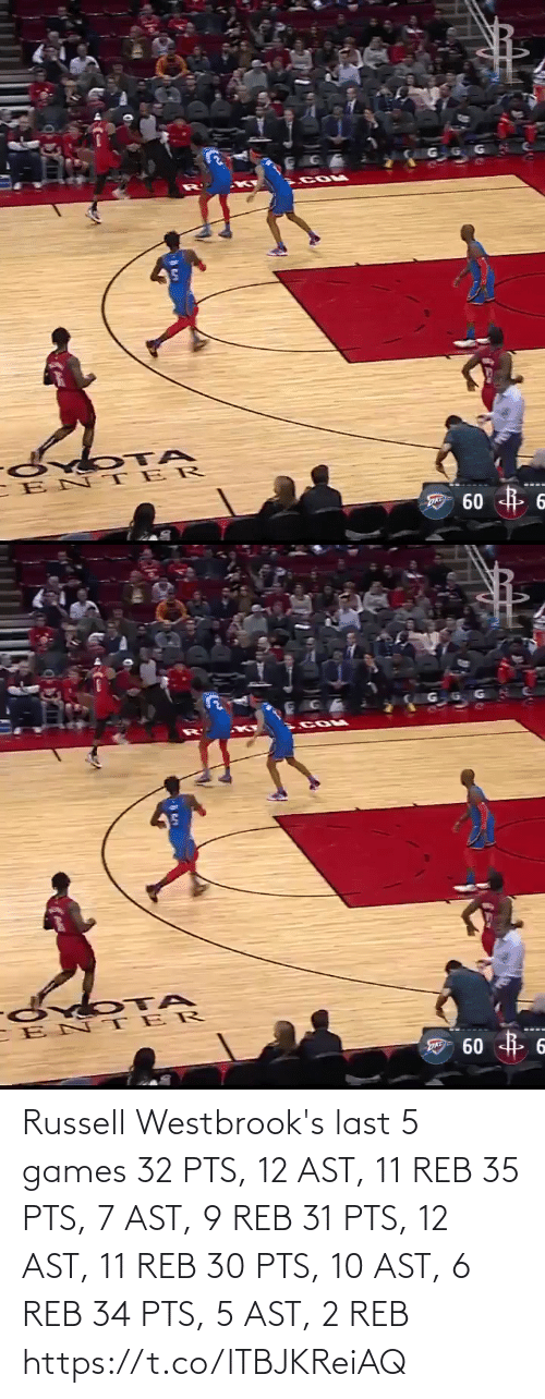 memes: Russell Westbrook's last 5 games  32 PTS, 12 AST, 11 REB 35 PTS, 7 AST, 9 REB 31 PTS, 12 AST, 11 REB 30 PTS, 10 AST, 6 REB 34 PTS,  5 AST, 2 REB   https://t.co/lTBJKReiAQ