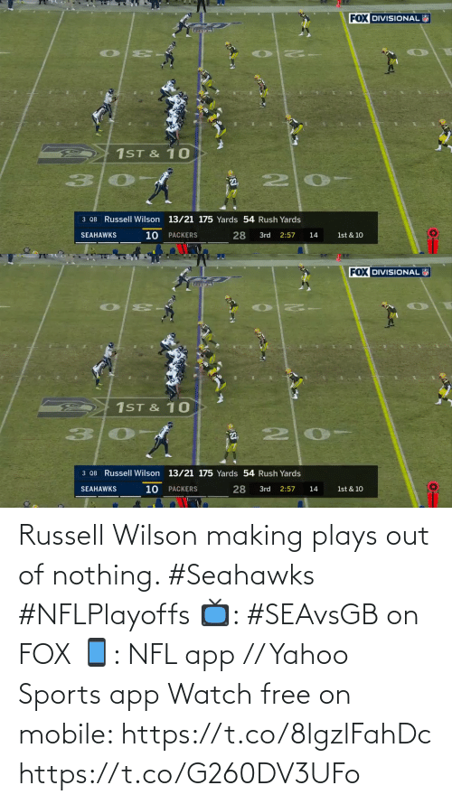 Out Of: Russell Wilson making plays out of nothing. #Seahawks #NFLPlayoffs  📺: #SEAvsGB on FOX 📱: NFL app // Yahoo Sports app Watch free on mobile: https://t.co/8lgzlFahDc https://t.co/G260DV3UFo