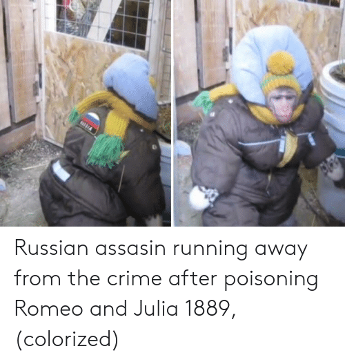 Crime, Russian, and Running: Russian assasin running away from the crime after poisoning Romeo and Julia 1889, (colorized)