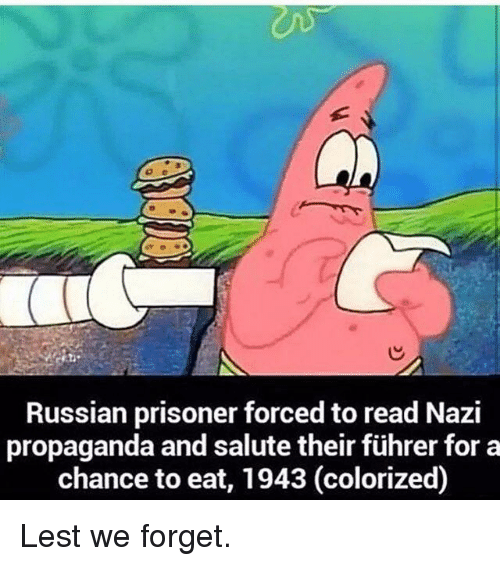 Propaganda, Russian, and Nazi: Russian prisoner forced to read Nazi  propaganda and salute their führer for a  chance to eat, 1943 (colorized) Lest we forget.