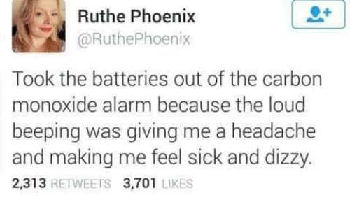 Memes, Alarm, and Phoenix: Ruthe Phoenix  @RuthePhoenix  Took the batteries out of the carbon  monoxide alarm because the loud  beeping was giving me a headache  and making me feel sick and dizzy.  2,313 RETWEETS 3,701 LIKES