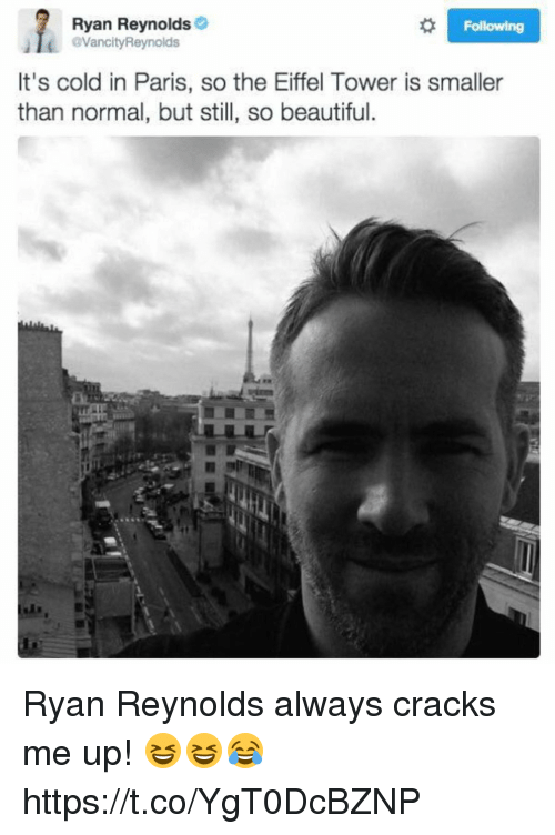 Eiffel Towered: Ryan Reynolds  VancityReynolds  Following  It's cold in Paris, so the Eiffel Tower is smaller  than normal, but still, so beautiful. Ryan Reynolds always cracks me up! 😆😆😂 https://t.co/YgT0DcBZNP