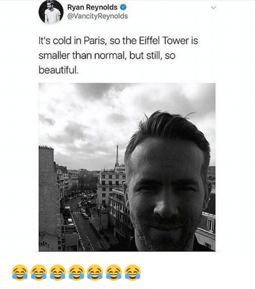 Beautiful, Memes, and Ryan Reynolds: Ryan Reynolds  @VancityReynolds  It's cold in Paris, so the Eiffel Tower is  smaller than normal, but still, so  beautiful. 😂😂😂😂😂😂😂