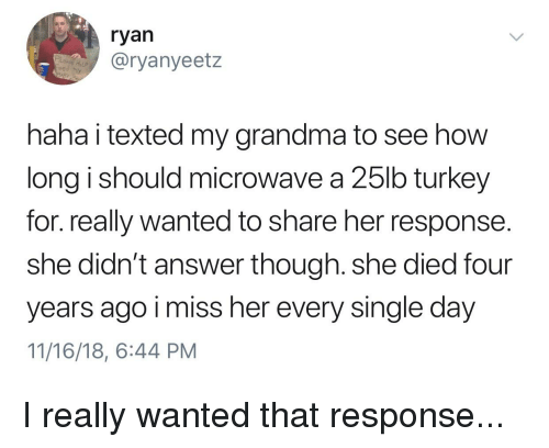 Grandma, Turkey, and Funny and Sad: ryan  @ryanyeetz  HoLP  eed My  haha i texted my grandma to see how  long i should microwave a 25lb turkey  for. really wanted to share her response.  she didn't answer though. she died four  years ago i miss her every single day  11/16/18, 6:44 PM