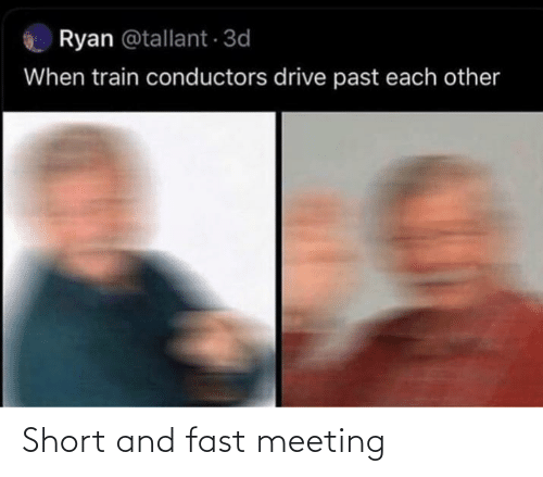 meeting: Ryan @tallant 3d  When train conductors drive past each other Short and fast meeting