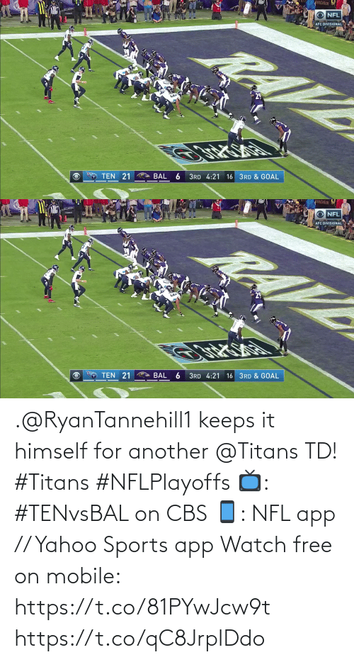 Free: .@RyanTannehill1 keeps it himself for another @Titans TD! #Titans #NFLPlayoffs  📺: #TENvsBAL on CBS 📱: NFL app // Yahoo Sports app Watch free on mobile: https://t.co/81PYwJcw9t https://t.co/qC8JrpIDdo